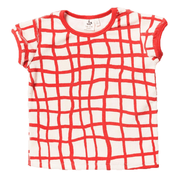 Noe and zoe red check short sleeve kids tee