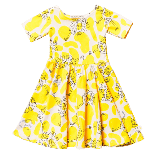 Noe and zoe yellow ostrich short sleeve girls twirl dress