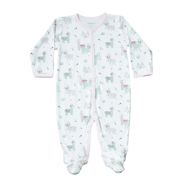 White snap baby footie with llama print