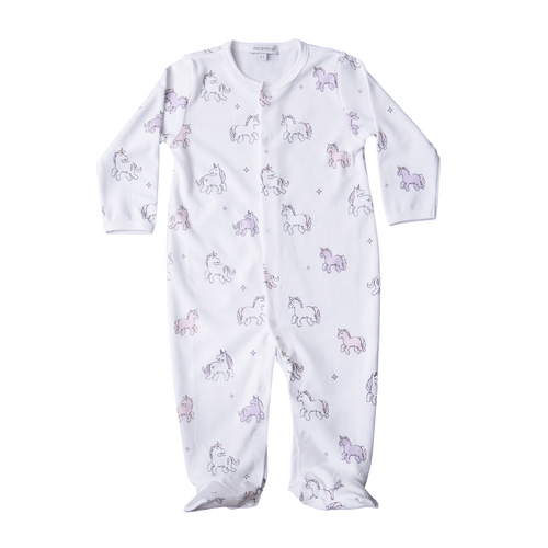 White snap baby footie with pink and white unicorns