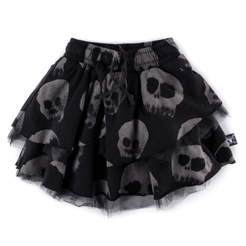 Nununu black skull print girls skirt