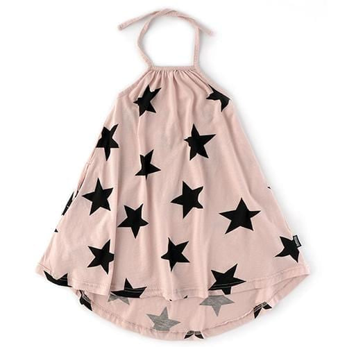 Nununu pink star girls halter dress