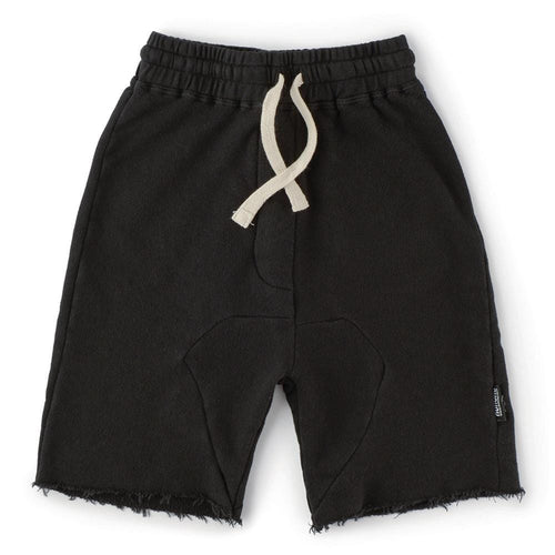 Nununu black knit drawstring boys shorts