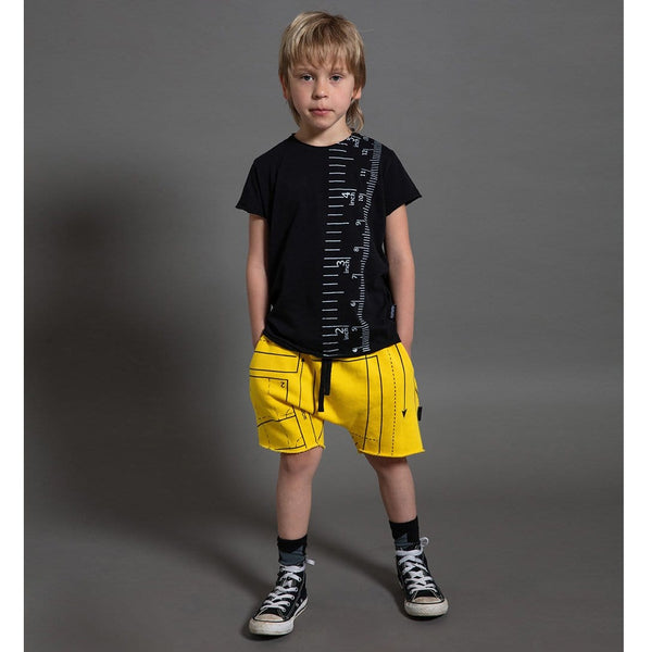 Nununu black short sleeve measuring tape kids graphic tee