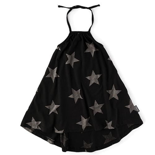 Nununu black star girls halter dress