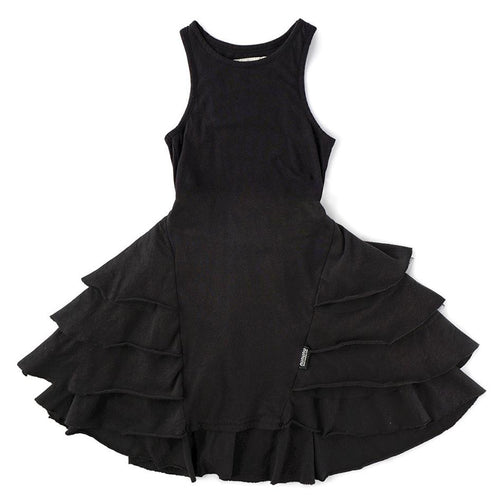 Nununu black ruffle sleeveless girls dress