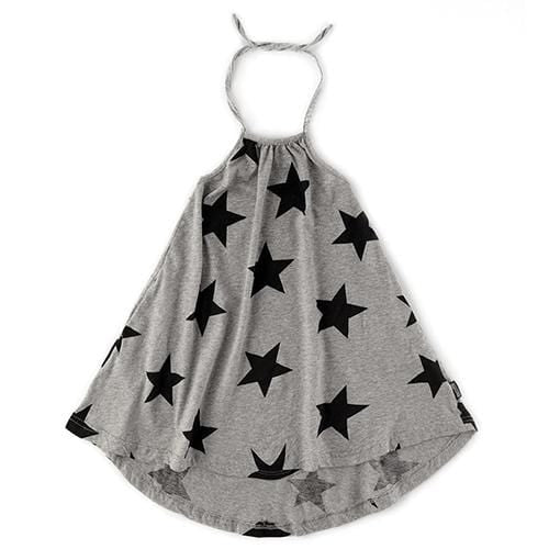 Nununu grey star halter girls dress