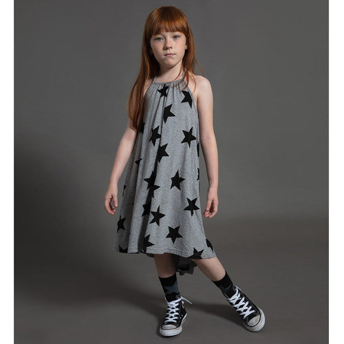 Nununu grey star halter knit girls dress