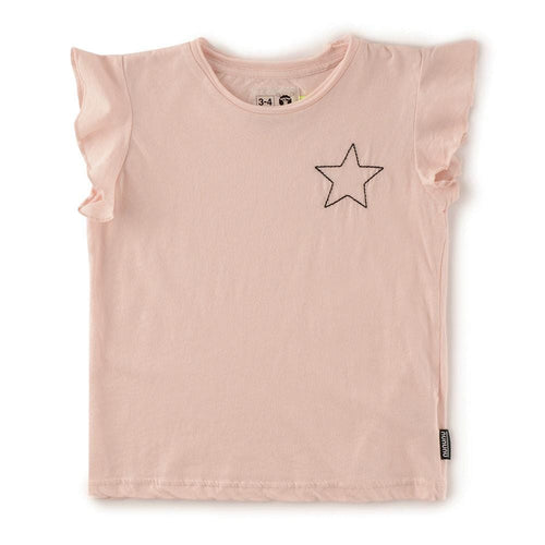 Nununu pink short sleeve star girls top