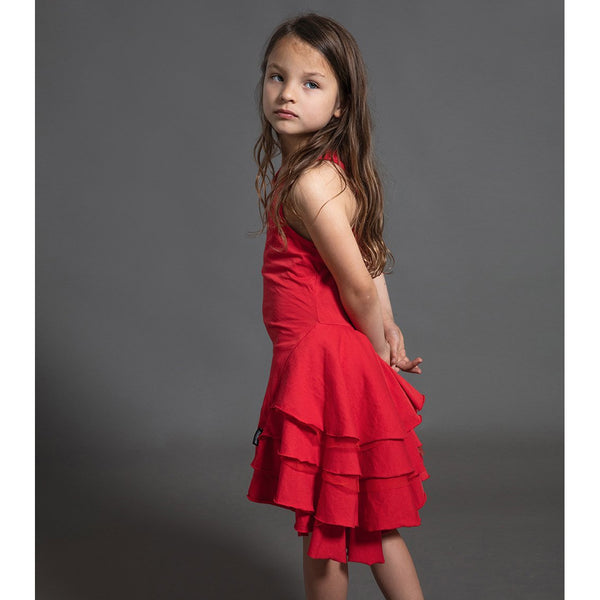 Nununu red sleeveless ruffle dress for girls