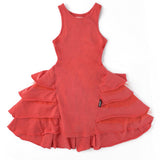 Nununu red sleeveless ruffle girls dress