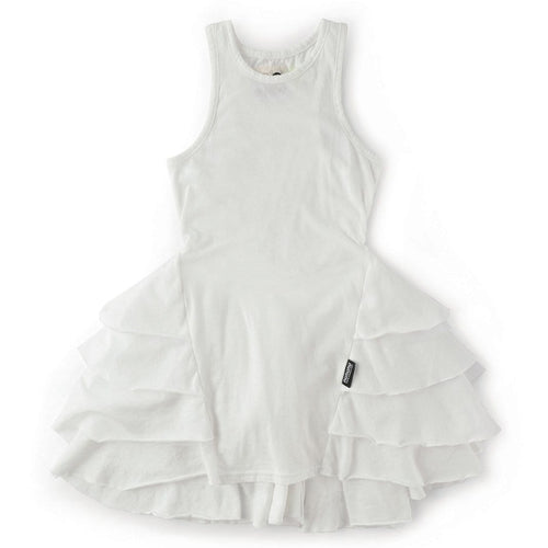 Nununu white sleeveless girls ruffle dress