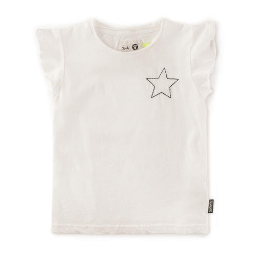 Nununu white short sleeve star girls top