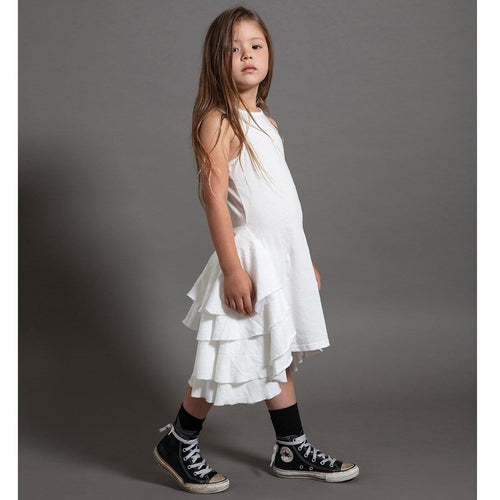 Nununu white sleeveless ruffle dress for girls