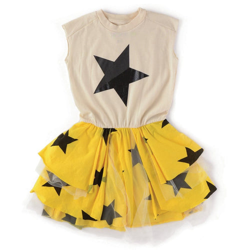 Nununu short sleeve yellow black and white girls star dress