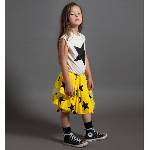 Nununu short sleeve yellow black and white star dress for girls