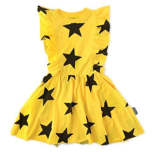 Nununu yellow star girls dress