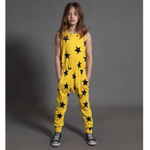 Nununu knit yellow star girls romper