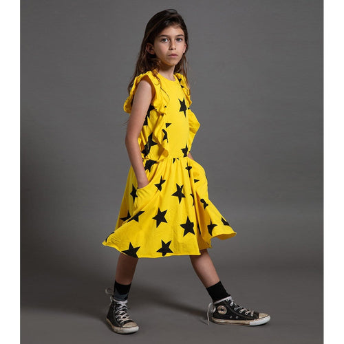 Nununu sleeveless yellow star girls dress