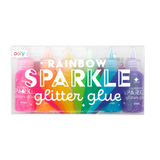 packaged six pack of assorted colored glitter glue