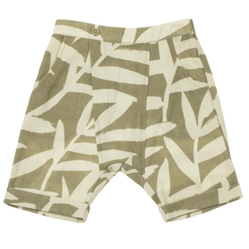Omamimini olive print boys denim shorts