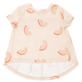 Omamini cream short sleeve orange print girls tee