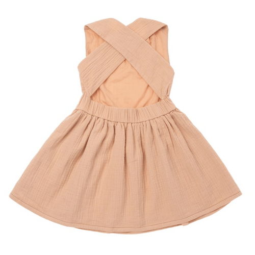 Omamimini peach pinafore sleeveless dress for girls