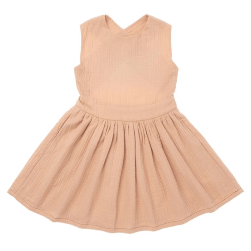 Omamimini peach pinafore dress for girls