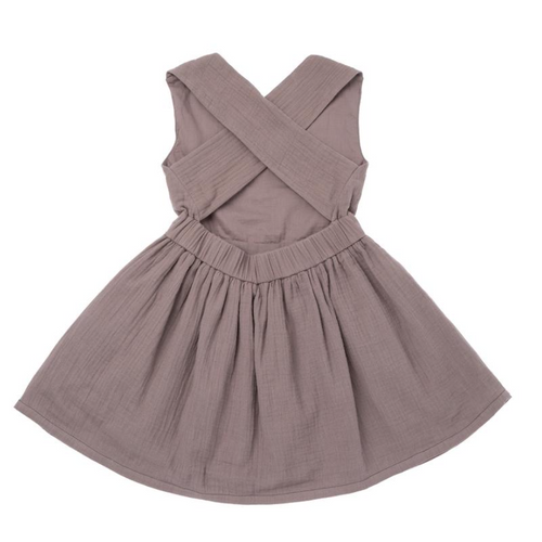 Omamimini stone grey pinafore sleeveless dress for girls