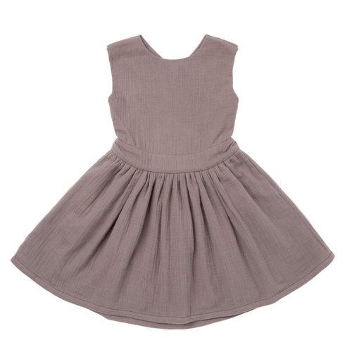 Omamimini stone grey pinafore dress for girls