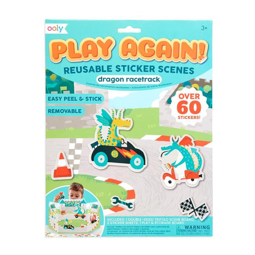 Ooly dragon race car themed kids reusable sticker book