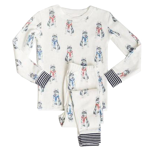 Husky print long sleeve girls pajamas