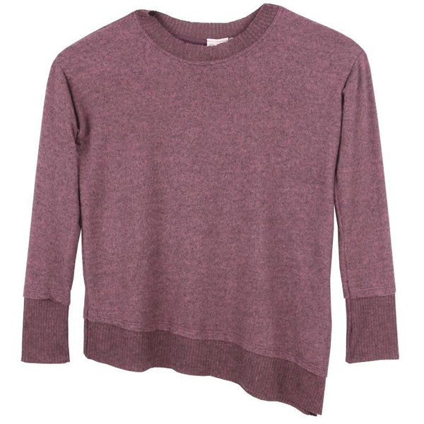 Tween girl berry colored asymmetrical sweater