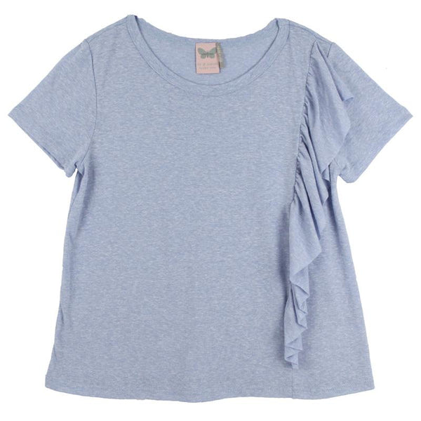 Light blue tween short sleeve tee shirt with ruffle