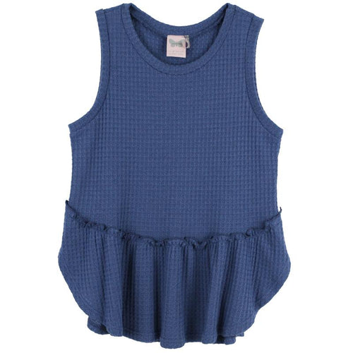 Girls sleeveless blue ruffle tank top