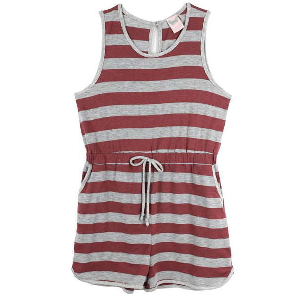 Red striped tween shorts romper with drawstring