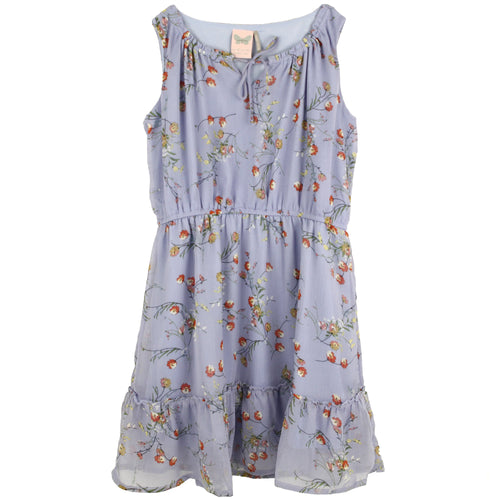 Lavender floral sleeveless tween dress with elastic waist