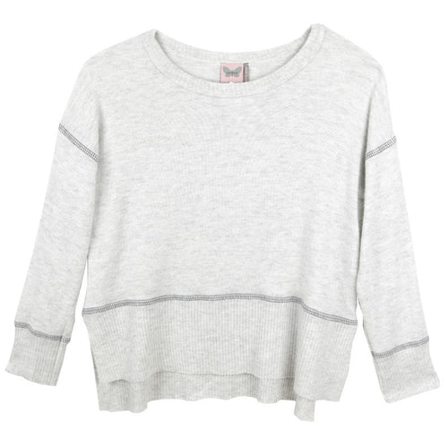 Grey long sleeve girls tween top