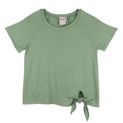 Paper Cranes Sage Side Tie Girls Top