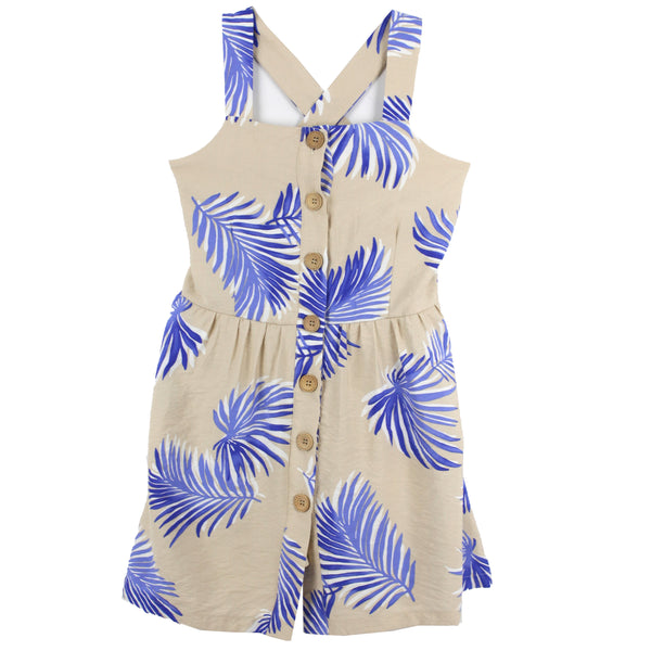 Button front sleeveless girls dress with palm leaf print
