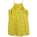 Yellow floral tween girl shorts romper | Tween rompers