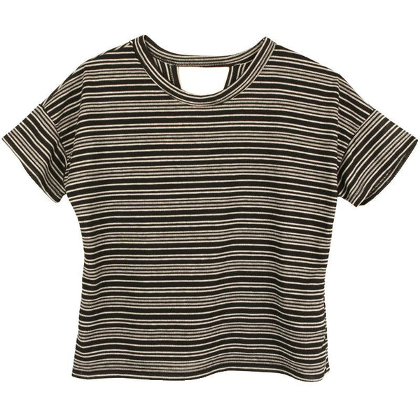 Black striped short sleeve tween top