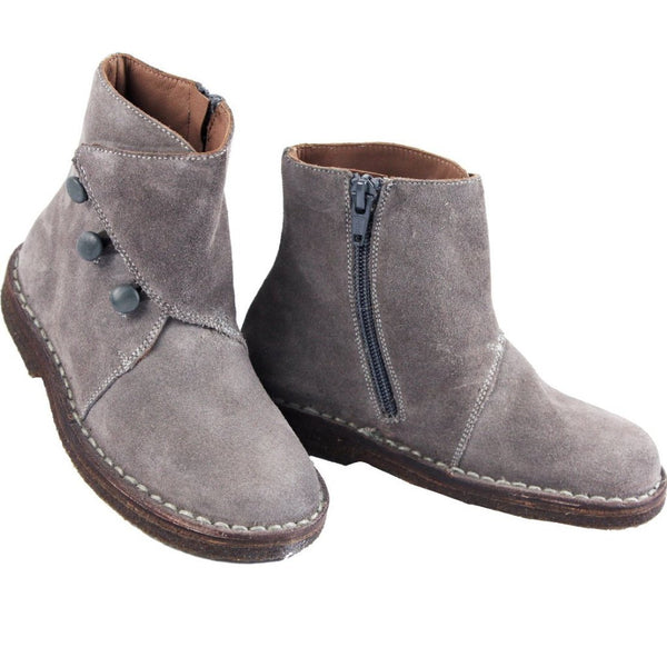 Grey Suede Girls Ankle Boots with Zip by PePe Shoes