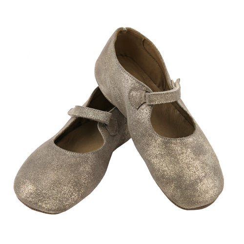 Gold glitter girls ballet flats