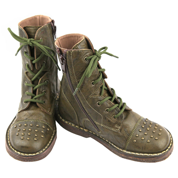 Forest green lace up ankle girls boots