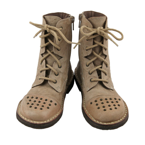 Beige studded ankle lace up girls boots