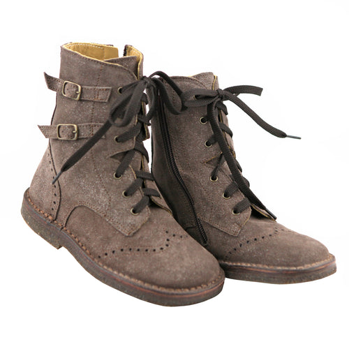 Brown sparkle lace up girls ankle boots