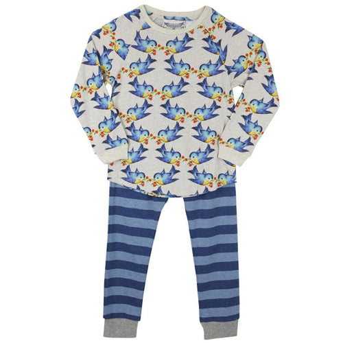 Girls bluebird print long sleeve loungewear set