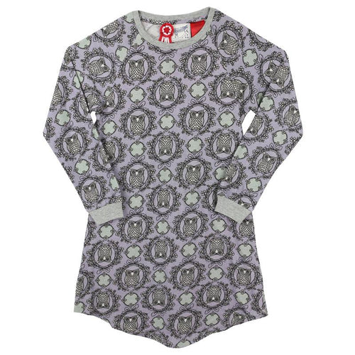 Purple owl print long sleeve girls nightgown