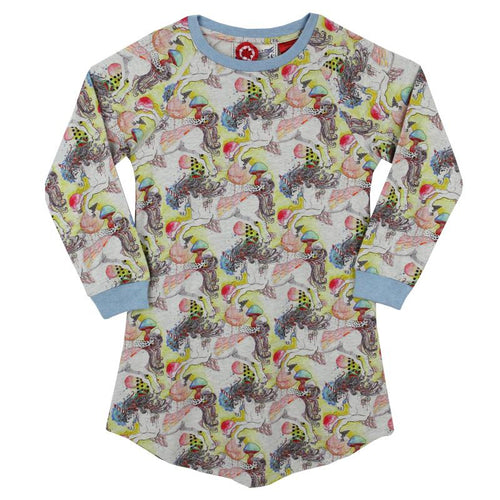Long sleeve printed girls unicorn nightgown